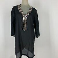 Antonio Melani woman's shirt top tunic cover-up size medium embellished black