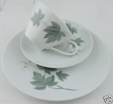 NORITAKE WILD IVY PLATE CUP SAUCER SET WHITE,PASTEL GREEN LEAVES TRIO