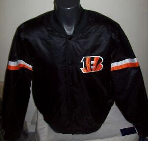 CINCINNATI BENGALS Starter Snap Down Jacket BLACK with BLACK Lining LARGE