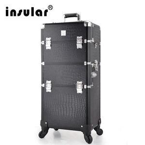 2 in1 Mutifunctional Trolley Cosmetic Case Rolling Makeup Case 360 Degree Wheel