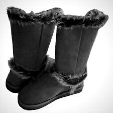 Qupid's Oakley-92 Womens Mid-Calf Round Toe Flat Bottom Winter Boots GREY