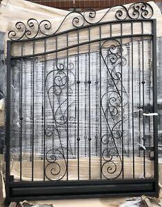 Wrought Iron Swing Gate  Hotdip galvanised Black Adjustabl 3.5- 3.6M can send