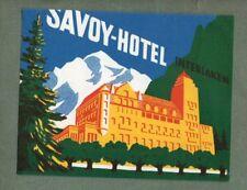 RARE Hotel luggage label Switzerland swiss Savoy Interlaken #848