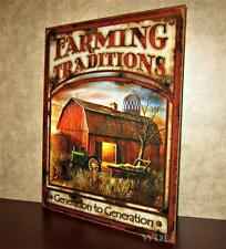 Country Farm Picture Barn Tractor Hay Wagon Silo Farming Agriculture Metal Sign
