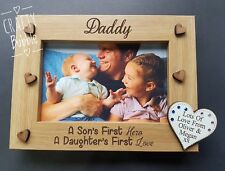 Daddy son hero daughter love engraved photo FRAME PERSONALISED fathers day gift