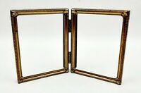 Vintage Picture Frame Gold Metal Bi Fold Hinged with Glass 3 x 4 Inches