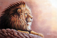 Lion King Of The Jungle Male Mane Big Cat African 24X36 Oil Painting  STRETCHED