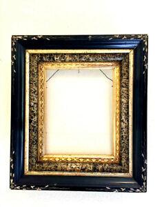 "Antique Victorian Eastlake Ebonized & faux marble~Incised Gilt Frame 16""x14"""