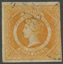 New South Wales, 1855, Scott #30, 8p orange, Watermark 49, Used, 3 Margins