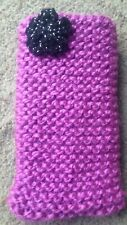 Hand knitted Mobile phone sock/cover/case Pink with Black Glitter Flower detail