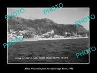 OLD LARGE HISTORIC PHOTO OF ALMA WISCONSIN, VIEW OF THE TOWN WATERFRONT c1950