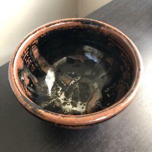 Fine Old Japanese Artist SIGNED Tenmoku Brown Black Glazed Chawan Tea Bowl