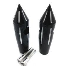 Black Spike Custom 4'' Rise Billet Handlebar Risers For Harley Dyna Fatboy FLHR