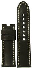 24mm RIOS1931 for Panatime Mocha Genuine Saddle Leather Watch Band For Panerai D