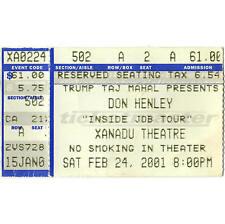 Don Henley Concert Ticket Stub Atlantic City Nj 2/24/01 Trump Xanadu The Eagles