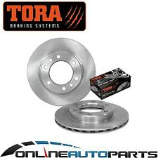 2 Front Disc Rotors + Brake Pad Set for Landcruiser 1990-1999 70 75 Series 4x4