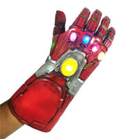 Iron Man Infinity Gauntlet w/LED Light Gloves for Cosplay Avengers Endgame Red