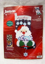 Janlynn Christmas Felt Applique Stocking Sock Kit NEW Santa Snowflake FREE SHIP
