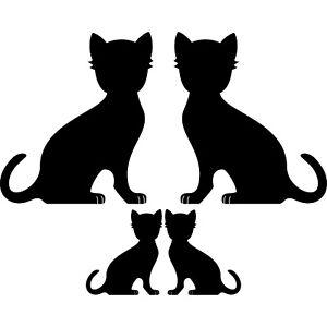 4 Katzen Familie links + rechts schwarz Aufkleber Tattoo Deko Folie Auto Fenster