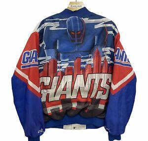 Vintage New York Giants Chalk Line Fanimation Satin Bomber Jacket Large 90s NFL