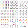 50PCS Captive Bead Ring Horseshoe C-Shaped Barbells Nose Ring Twist Belly Ring