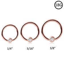 Rose Gold Plated Steel Captive Bead Nose Ring Hoop 18 Gauge 18G