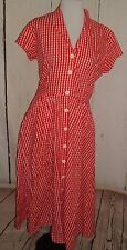 Vintage Dress Red Plaid Button Front Handmade Rockabilly Swing Sz L peep back