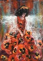 """ACEO ATC Signed Print """"Pansy Fairy"""" Art Artist Trading Card In Sturdy Sleeve"""