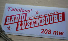 Fabuloso Radio Luxemburgo Clásico Auto Adhesivo 208 1960's Pirate Ventana Retro