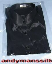 "Mens Thai Silk Dress Shirt /  Black / Long Sleeve XXXL 19"" Collar / 58"" Chest"