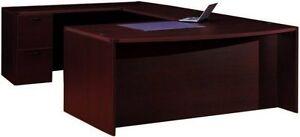 Bowfront U-Shape Executive Desk Cherryman Amber Series