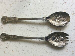 Vintage Kings Pattern Silver Plated Fruit Berry Design Salad Serving Spoons