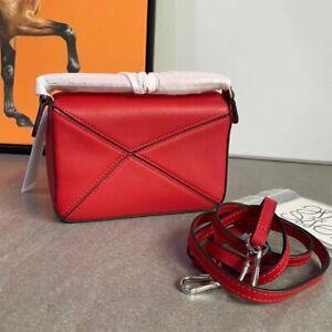New loewe Genuine leather puzzle crossbody bag mini red