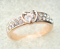 Gift Engagement Romantic Ring Rose Gold Plated Heart CZ Crystal K L M O P R S T