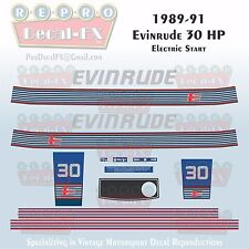 1989-91 Evinrude 30 HP Electric Start Outboard Repro 15 Piece Marine Vinyl Decal