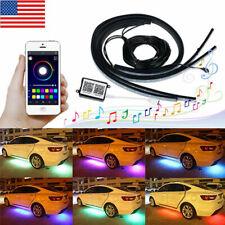 4x RGB LED Under Car Tube Strip Underglow body Neon Light Kit App Control Decor