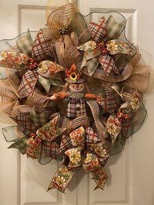 "Everyday Handmade Deco Mesh Autumn Fall Wreath Pancake Style 23"""