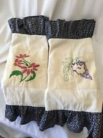 2 SHABBY CHIC EMBROIDERED Standard Pillow Shams Cottage Pair Floral Ruffle