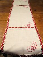 Red Embroidered Vintage Table Runner With Table Centerpiece