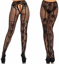 Leg Avenue Floral Fleur De Lace Suspender Illusion Crotchless Tights With Bow