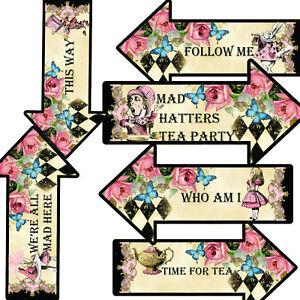 12 Arrows Signs Alice In Wonderland, Mad Hatters Tea Party Arrows,Party Decor