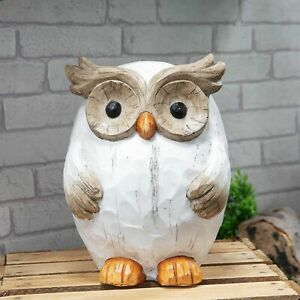Carved Wood Effect White & Brown Owl Garden Ornament Figurine 31cm