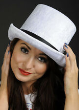 Top Hat Velvet White One Size Fits - Fancy Dress All