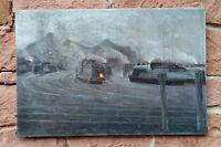 GUSTAV CHABOT (*1883) Frühe Industriemalerei ähnl. PLEUER. Eisenbahn Ölgemälde