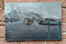 GUSTAV CHABOT ( 1883) Early Industrial painting similar to PLEUER. Railway Oil
