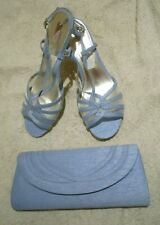 BNWT Jacques Vert UK 7 Shoes & Bag Cornflower Blue Peep Toes Sandals Heels