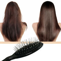 Massage Head Wooden Steel Tooth Wig Hair Brush Anti-static Fast