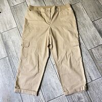 TALBOTS KHAKI TAN NEWPORT RELAXED POPLIN ROLL-UP CROP CARGO PANTS SIZE 12
