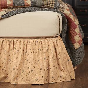 VHC Brands Maisie Primitive Queen Bed Skirt Floral Natural Black Cotton 60x80x16