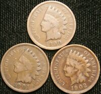 1900 1901 1902 1c Indian Head Cent Penny Set Lot , All 3 Coins , Circulated